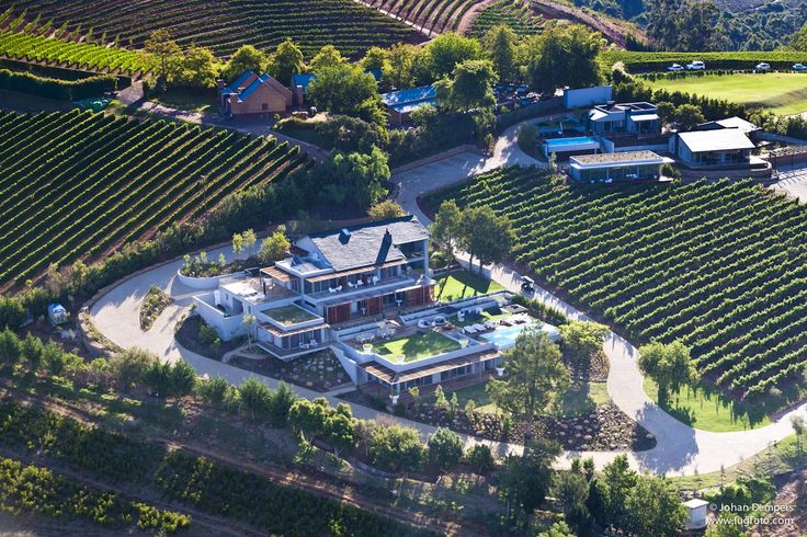 An aerial view of Clouds Estate surrounded by vineyards. #Cloudsestate #wine #vineyards http://cloudsestate.com/home-26.html