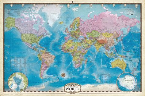 232 best carte du monde images on pinterest cards worldmap and map of the world with poles posters at allposters gumiabroncs Images