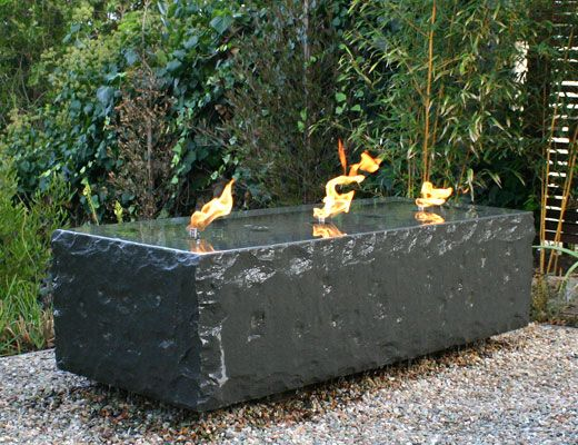 Basalt fire reflecting pool by archt korn randolph for Fire and water features