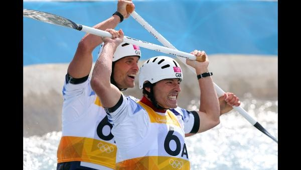 David Florence (R) of Great Britain and his team mate Richard Hounslow reacts after competing in the Mens`s Canoe Double (C2) finale on Day 6 of the London 2012 Olympic Games at Lee Valley White Water Centre on August 2, 2012 in London, England. (Photo by Alexander Hassenstein/Getty Images)