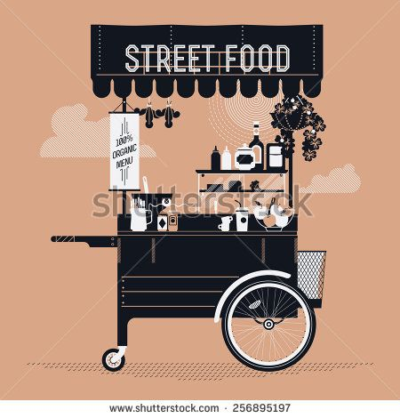 Creative vector detailed graphic design on street food with retro looking vending portable cart with awning, refreshments, bowls, bottles, and more | Mobile cafe stand illustration - stock vector