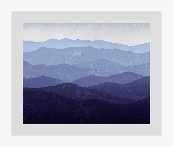 Arte de pared de montaña recuerdos ilustración montañas - humo / verde - lienzo Panel listo para colgar por nativevermont