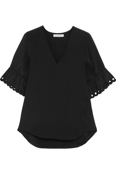 Chloé - Embroidered Silk Crepe De Chine Top - Black - FR34