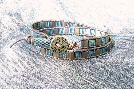Bangor Leather Wrap Bracelet with Tila Beads by beadbound on Etsy