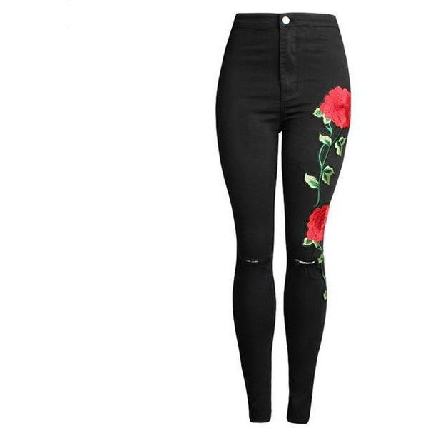 Red Rose Embroidery Ripped Jeans Black or Light Grey ($39) ❤ liked on Polyvore featuring jeans, destructed jeans, red skinny leg jeans, red jeans, distressed skinny jeans and torn jeans