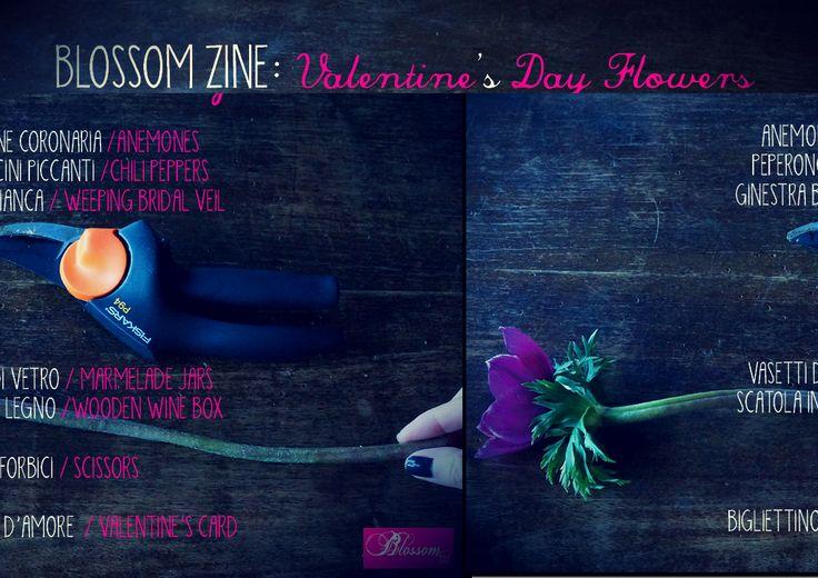 http://youtu.be/ttMnZJ0oZgo  Blossom zine: Valentine's Day Flowers  Anemone coronaria Anemone /Anemones Capsicun annuum Peperoncini piccanti /Chili peppers  Genista monosperma ginestra bianca / Weeping bridal veil vasetti di vetro / marmelade jars scatola in legno /wooden wine box forbici / scissors bigliettino d'amore / Valentine's card  http://blossomzine.eu/blog/