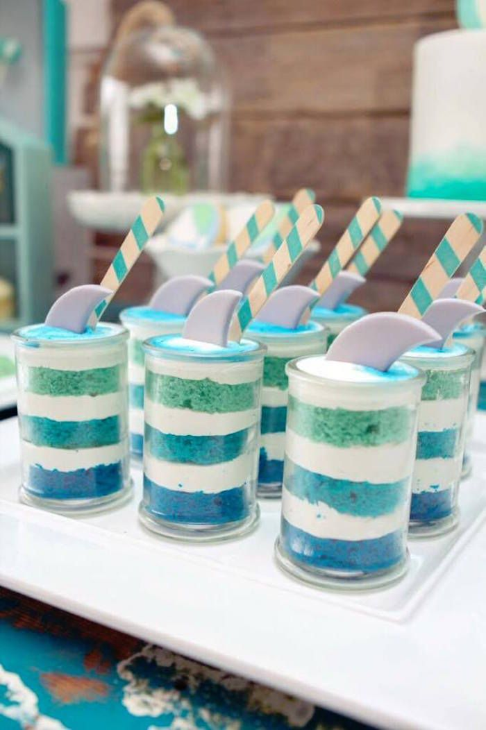 Shark Fin Cakes in Jars from a Rustic Beach Ball Birthday Party via Kara's Party Ideas! KarasPartyIdeas.com (7)