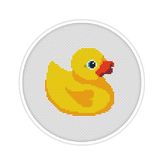 Cute yellow rubber duck counted cross stitch pattern pdf for Bathroom cross stitch patterns free