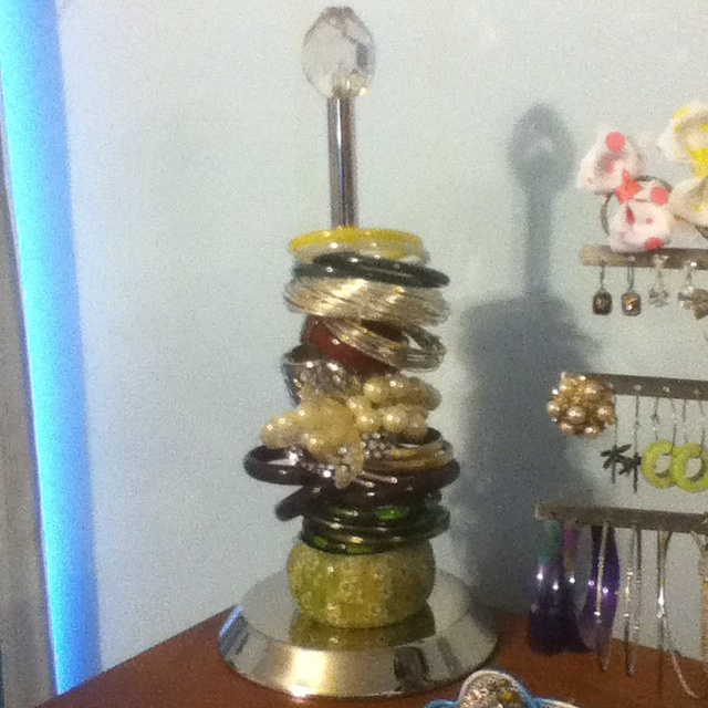 My new bracelet storage with a paper towel holder.