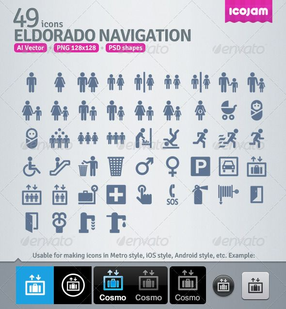 49 AI and PSD Navigation strict Icons   #GraphicRiver         Eldorado Navigation contains 49 vector icons in AI and PSD. Raster version is also included as 128×128 sized PNG. Icons are a good choice to use in web, iOS, android and other applications. Strong and serious style.     Created: 14March13 GraphicsFilesIncluded: PhotoshopPSD #TransparentPNG #AIIllustrator HighResolution: Yes Layered: Yes MinimumAdobeCSVersion: CS Tags: airport #android #baggage #city #customers #fire #icons…