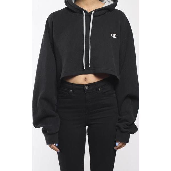 4c77b7c293078 Vintage Champion Crop Hoodie (£36) ❤ liked on Polyvore featuring tops