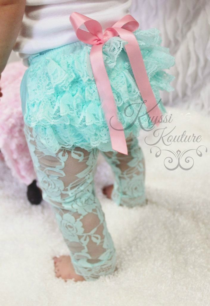 Baby/Toddler/Girls Vintage Aqua Lace Ruffle Fall Leggings, Birthday Outfit, Girls Birthday outfit, First Birthday, Baby Leggings, Toddler Leggings, Lace Legging