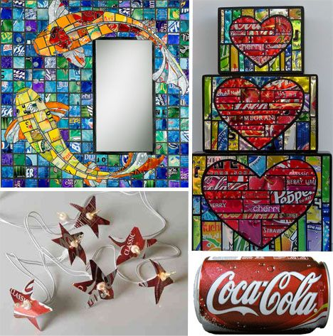 lovely mosaic from pop cans which i cant drink except the occassional Jones Rootbeer no hfcs or caff