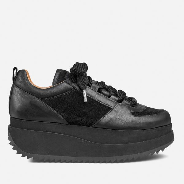 Ganni Women's Naomi Leather Trainers - Black ($220) ❤ liked on Polyvore featuring shoes, sneakers, black, leather shoes, black leather shoes, black trainers, black leather trainers and genuine leather shoes