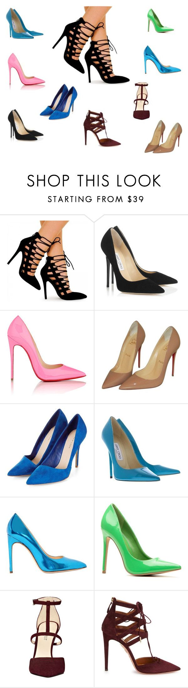 """Sempre no salto !"" by marciabackermendes ❤ liked on Polyvore featuring Jimmy Choo, Christian Louboutin, Nine West and Aquazzura"