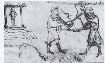 """Trial was by ordeal until 1215; male serfs underwent trial by water; freemen and all women, trial by hot iron. There was also trial by combat - """"wager of battle."""" Ordeals were supposedly a way to allow God to reveal his judgment."""