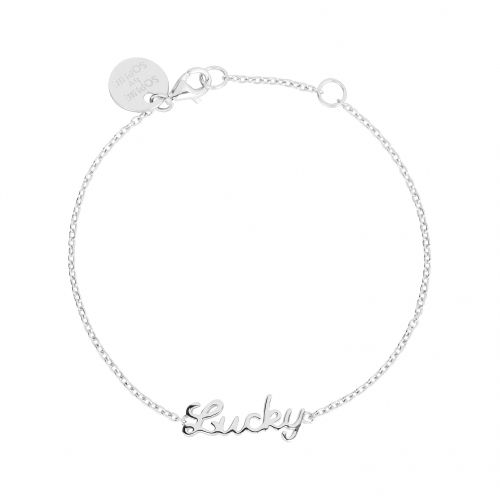 Lucky bracelet in Rhodium plated silver.