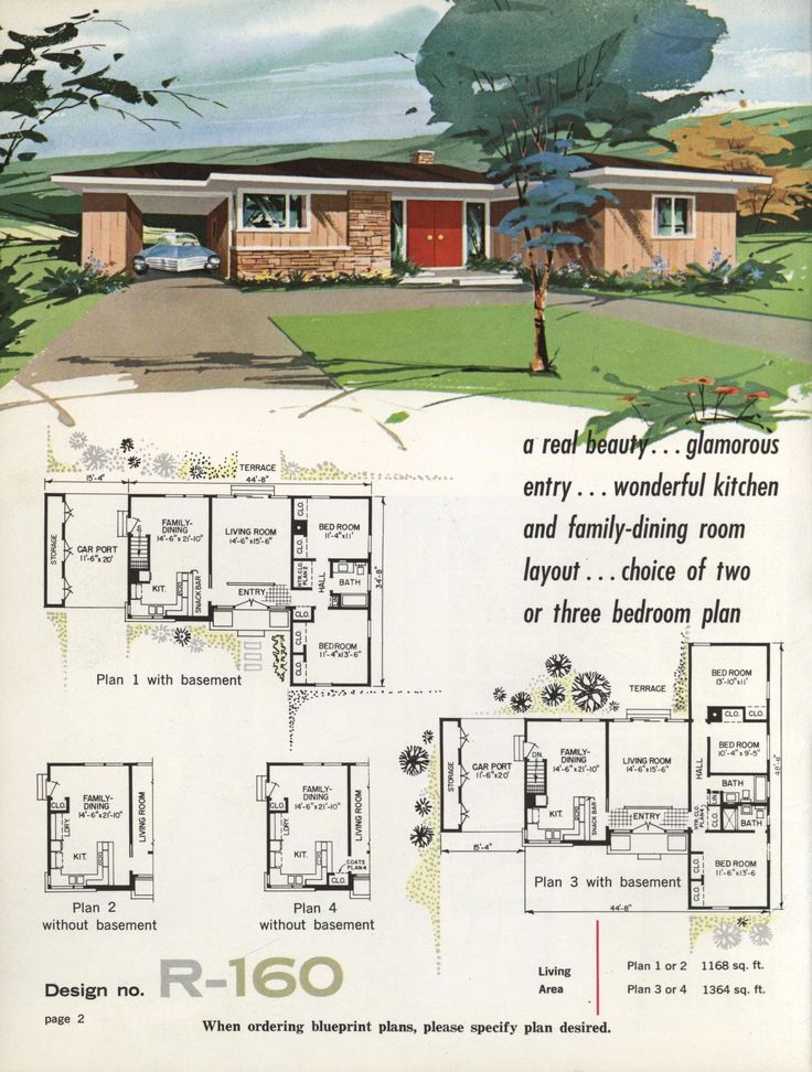 Town country ranch homes 1962 vintage house plans for Vintage floor plans