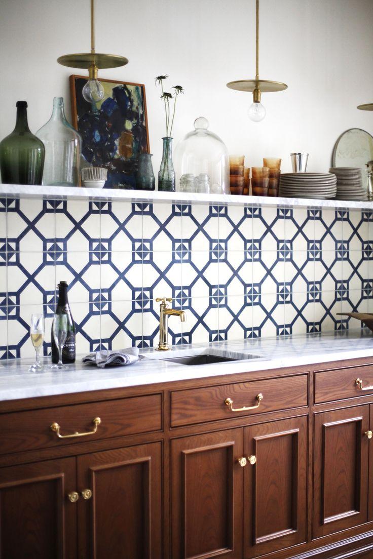 blue patterned tile backsplash with single marble open on floating shelves kitchen id=16759