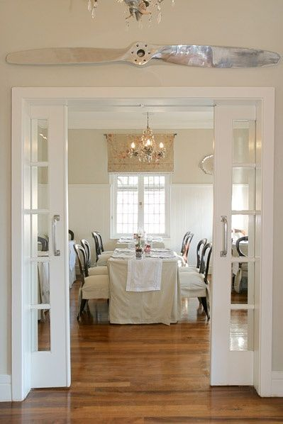 Pocket doors: want to do this as family grows need more eating space open to kitchen. Install between great room and formal dining. M