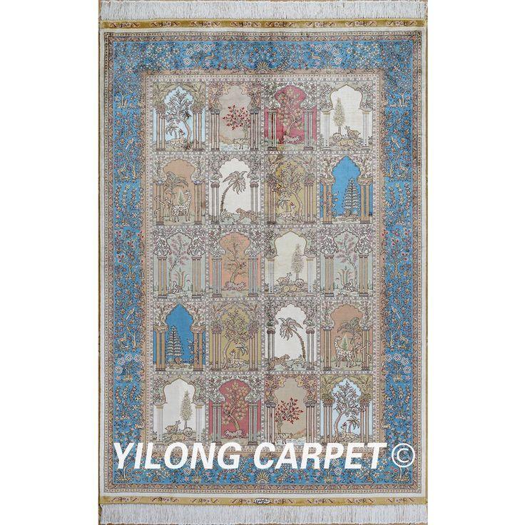 Yilong 4'x6' turkish carpet garden vantage antique handmade rugs four season area (0674)