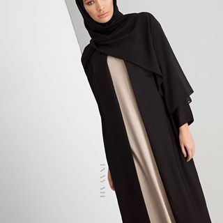 Stylish and Versatile - Perfect for transitioning between seasons Black Wrap Front Coat Warm Sand Slip Dress Black Soft Crepe Hijab www.inayah.co