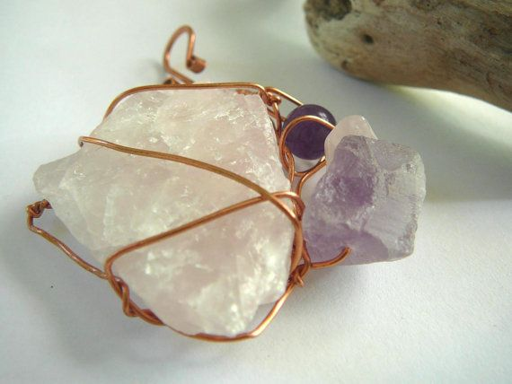 Power of Love  Pendant / Rose Quartz Fluorite by BatyaHavDesign