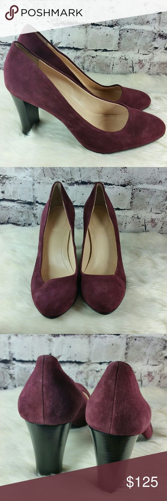 """Calvin Klein """"Olive"""" wine colored suede pumps. Calvin Klein """"Olive"""" wine colored suede pumps. Heels are 3.5 inches. Very good condition. Calvin Klein Shoes Heels"""