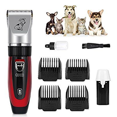 GHB Dog Grooming Clippers Kit Rechargeable Cordless Low Noise (Red)