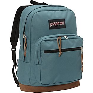 Carry your gadgets anywhere you go in this JanSport Right Pack laptop backpack. It has front zippered pockets and a spacious main compartment to hold your laptop accessories, phone, and keys. You can use the internal laptop sleeve of this 15 inch laptop backpack to protect your device from scuffs. Featuring padded shoulder straps and a haul handle, this travel laptop backpack is comfortable to carry. This bag, with a suede leather bottom, is designed to stand upright when you place it down.