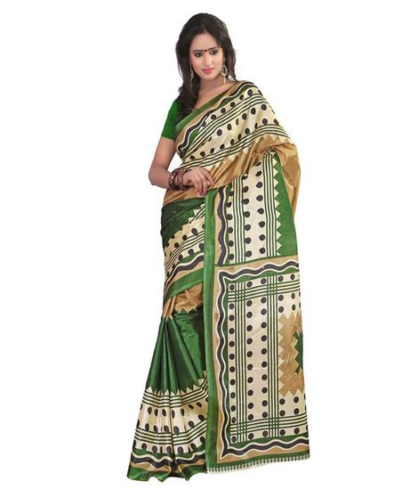 Kalash Art Silk Sarees Colour Green And Black - Kalash Fashion Sarees for indian woman