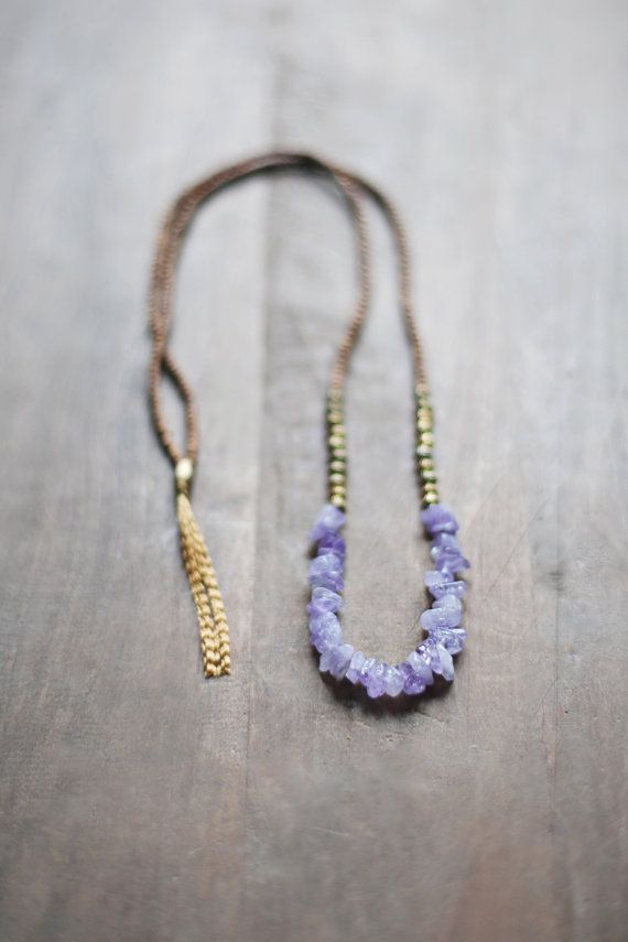 Mixed Media Boho Necklace /  Light Purple Necklace by BlueBirdLab