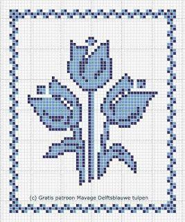 e-Marianne: Gratis borduurpatroon Delftsblauwe tulpen
