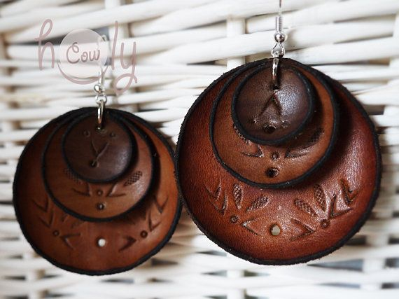 100% Handmade Brown Leather Boho Chic Hippie by HolyCowproducts