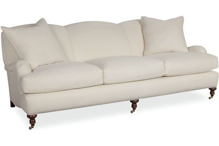 "Lee Industries sofa with turned leg, tight back; 3278-03. 87"" long x 42"" deep x 34"" high. Inside: 75"" long, 27"" deep, 20"" high. Seat Height: 18"".  Arm Height: 21"". Back Rail Height: 34"", around $2,500 to $3,000."