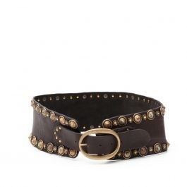 High waist belt with studs and decorations in dark brown leather