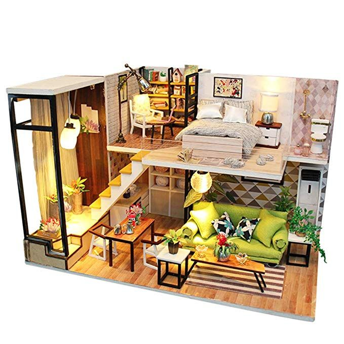 Kitchen 1//24 Miniature Dollhouse Kit with Furniture and LED Birthday Gifts