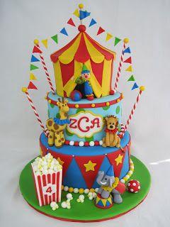 Red, Yellow & Blue Circus Animals and Popcorn Cake