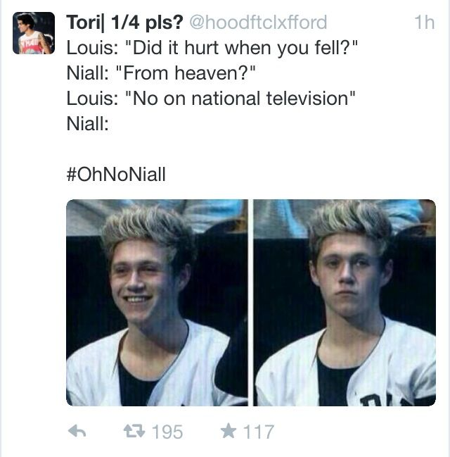 Can we STOP talkin ABOUT NIALL'S FALL, It's not NICE makin fun of someone who fell!