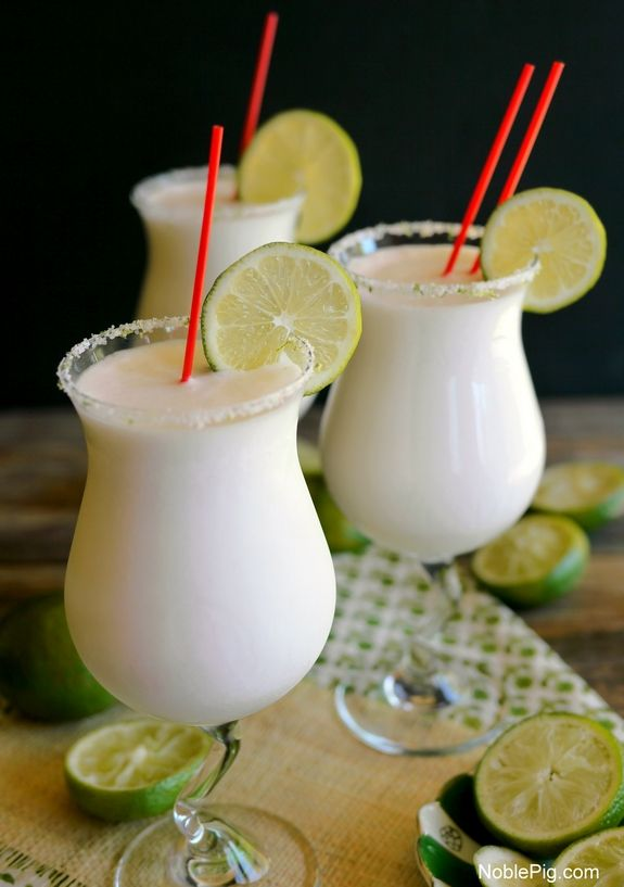 Coconut Lime Frozen Margaritas from NoblePig.com