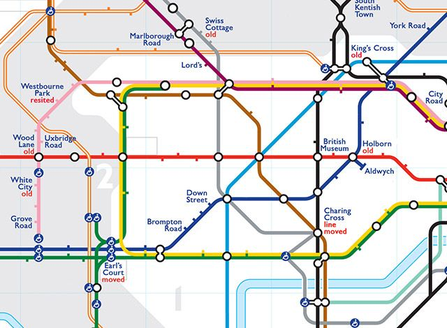 Alternative Tube Maps: Ghost Stations On The London Underground - At first glance, this Tube map looks naked. Where are all the station names? Look closer, though, and you'll see some unfamiliar titles. British Museum. Marlborough Road. Mark Lane. And hang on, is that Southend?  They're all ghost stations, ones that, mostly due to low passenger numbers, have been permanently shuttered. The stations are time capsules from a different era, and exert a strong pull on the imagination...