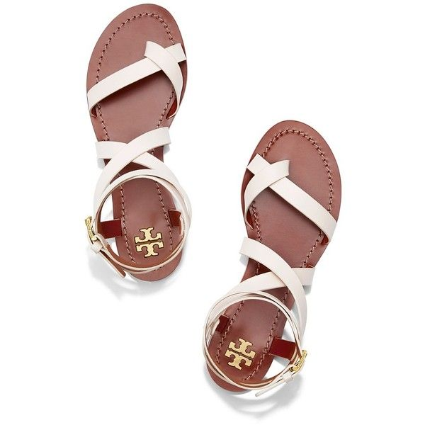 Tory Burch Patos Sandals ($225) ❤ liked on Polyvore featuring shoes, sandals, sandales, wrap around sandals, strappy gladiator sandals, wrap sandals, gladiator shoes and gladiator sandals