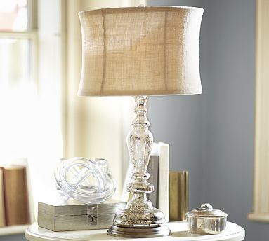 Leera Antique Mercury Glass Table Lamp Base #potterybarn http://www.potterybarn.com/products/leera-mercury-glass-candlestick-table-lamp-base/?cm_src=AutoSchRel