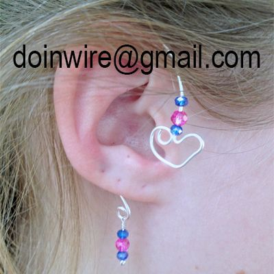 doinWire-DOW318 Ear Wrap, silver tone craft wire, top heart shape with purple/pink/purple crystal beads, bottom loop with purple/pink/purple crystal beads. No Piercing Required.