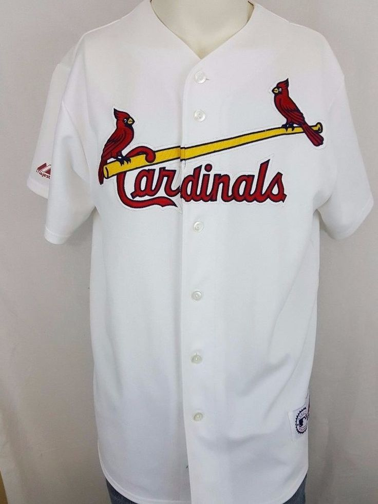 st. louis cardinals authentic majestic sewn white mlb baseball jersey size large cardinals