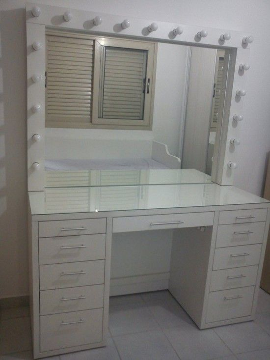 Makeup Vanity With Lights Ikea Table Lighted Mirror Professional