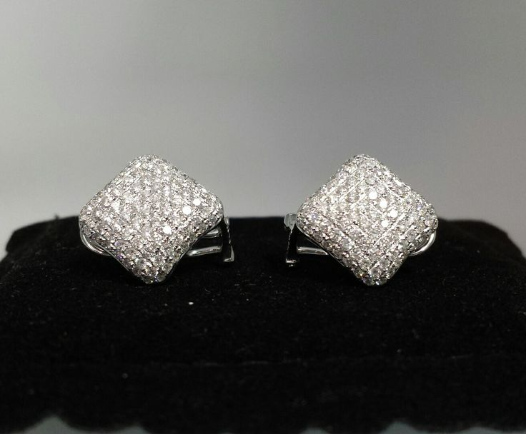 #diamondearrings   18k white gold diamond shaped earrings with 2 cts. of diamonds