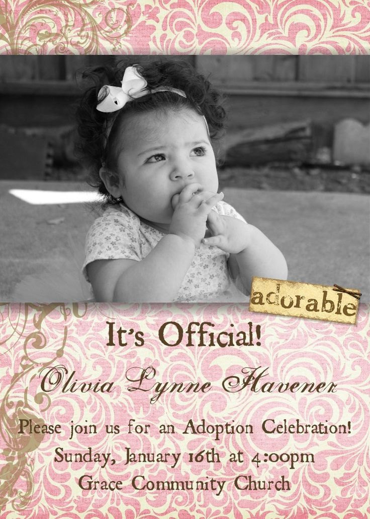 Girl Adoption Announcement -- 5x7 Digital Print. $15.00, via Etsy.