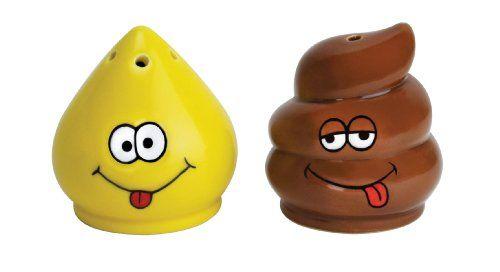 Big Mouth Toys Tinkle and Turd Salt and Pepper Shaker set - http://spicegrinder.biz/big-mouth-toys-tinkle-and-turd-salt-and-pepper-shaker-set/