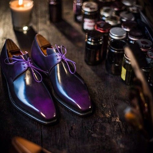 Mens purple derby shoes #.